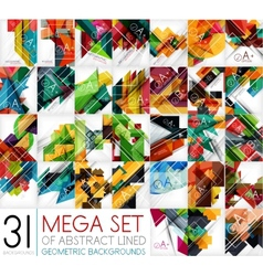 Mega set of geometric shaped line backgrounds vector image