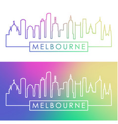 melbourne skyline colorful linear style editable vector image