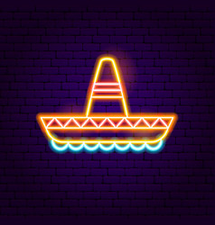 Mexican sombrero neon sign vector