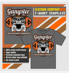 Mock up clothing company t-shirt templateskull vector