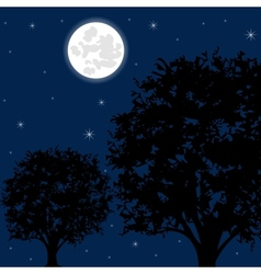 Moon night and tree vector image
