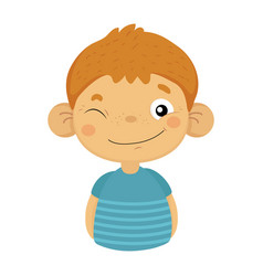 Naughty winking cute small boy with big ears in vector