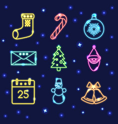 neon set of shining christmas icons in line style vector image