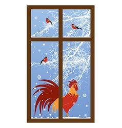New year window with rooster vector