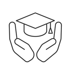 Open palms with graduation cap linear icon vector