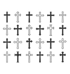 outline christian crosses vector image