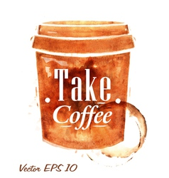 Painted plastic cup of coffee vector