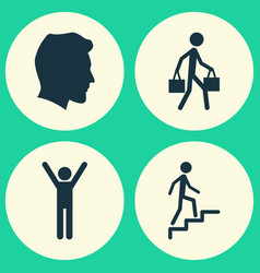Person icons set collection of delivery person vector