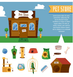 pet shop banner and animals care set flat cartoon vector image