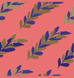 pink and purple seamless leaves watercolour vector image