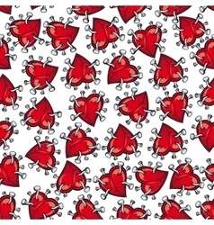 Pinned or nailed cartoon heart seamless pattern vector image