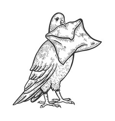 Postal dove with letter sketch engraving vector