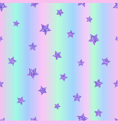 seamless pattern with ultraviolet purple stars vector image