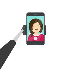 Selfie stick with smartphone vector