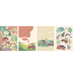 set four farming and agriculture designs vector image