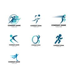 set human running logo character vector image