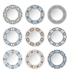 Set of decorative plates with a circular blue vector