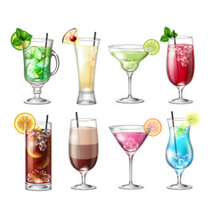 set of realistic cocktails vector image