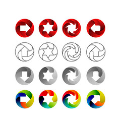 set of signs in the circular forms with the vector image