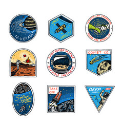 set of space logo human mission to mars vector image