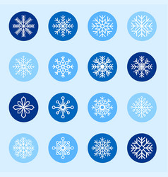 set of white snowflakes on color backgrounds vector image