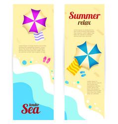 Set vertical banner sunny summer day summertime vector