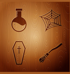 Set witches broom bottle with potion coffin vector