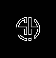 sh monogram logo circle ribbon style outline vector image