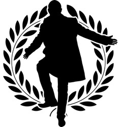 Silhouette of dancing politician and laurel wreath vector