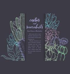 sketch linear cactus ans succulents vector image
