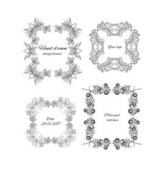 sketch ornamental floral design frames set vector image