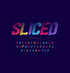 sliced font design alphabet letters and numbers vector image