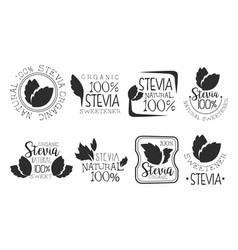 stevia organic product logo set natural sweetener vector image