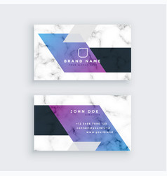 stylish geometric marble business card design vector image