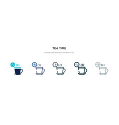 Tea time icon in different style two colored vector