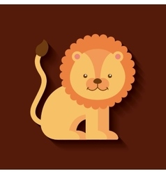 Tender cute lion card icon vector