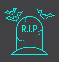 Tombstone line icon halloween and scary grave vector