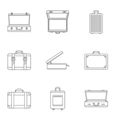 travel briefcase icon set outline style vector image