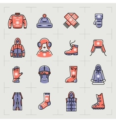 Trendy winter clothes isolated line icons set vector image