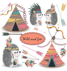Tribal collections set with teepee tens arrows vector