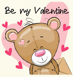 Valentine card with cute cartoon teddy bear vector