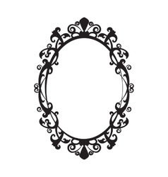 Vintage oval mirror frame vector