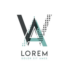 wa modern logo design with gray and blue color vector image