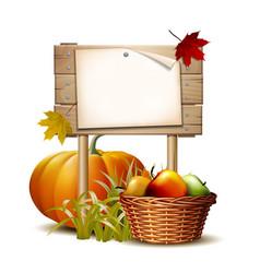 Wooden banner with orange pumpkin autumnal leaves vector
