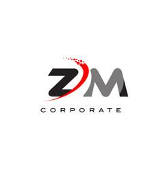 Zm modern letter logo design with swoosh vector