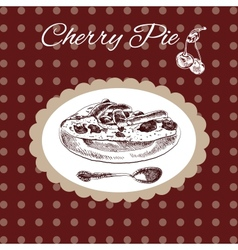 Cherry pie vintage style vector image vector image