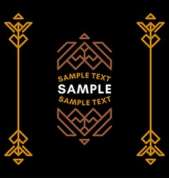 Decorative geometric logo and borders brown on vector