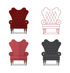 Flat design icon set of classic chair vector image