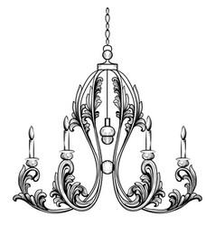 rich rococo classic chandelier luxury decor vector image