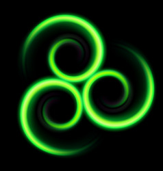 three an abstract green swirls on black vector image vector image